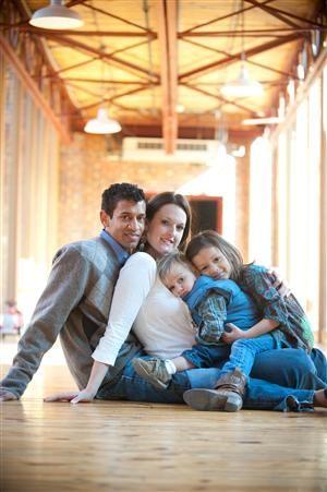 Familienfoto mit vier Personen - schöne Idee