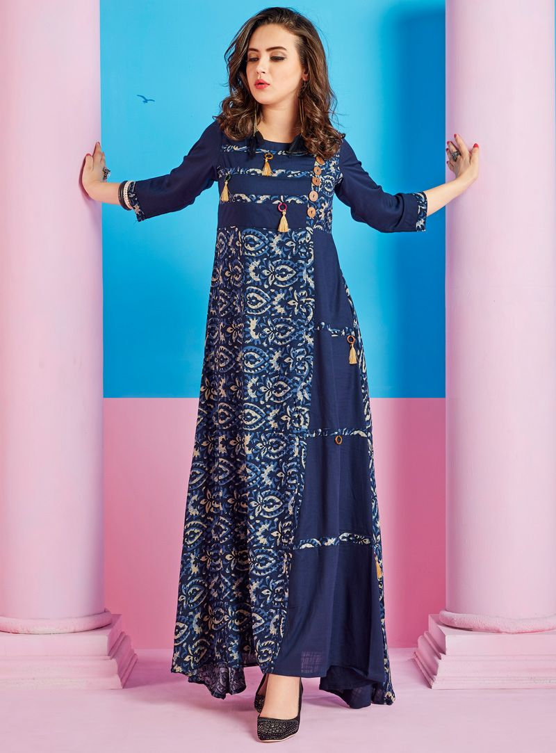 14d0040399 Buy Navy Blue Cotton Readymade Kurti 118477 online at lowest price from our  mens indo western collection at m.indianclothstore.c.