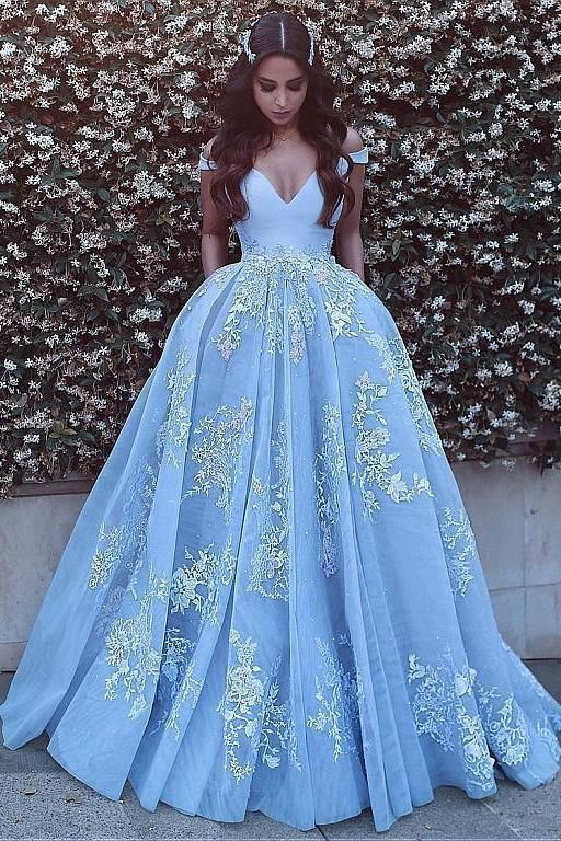 Wonderful Off-the-shoulder Ball Gown Formal Blue Lace Appliques Long Quinceanera Dresses KB2018119