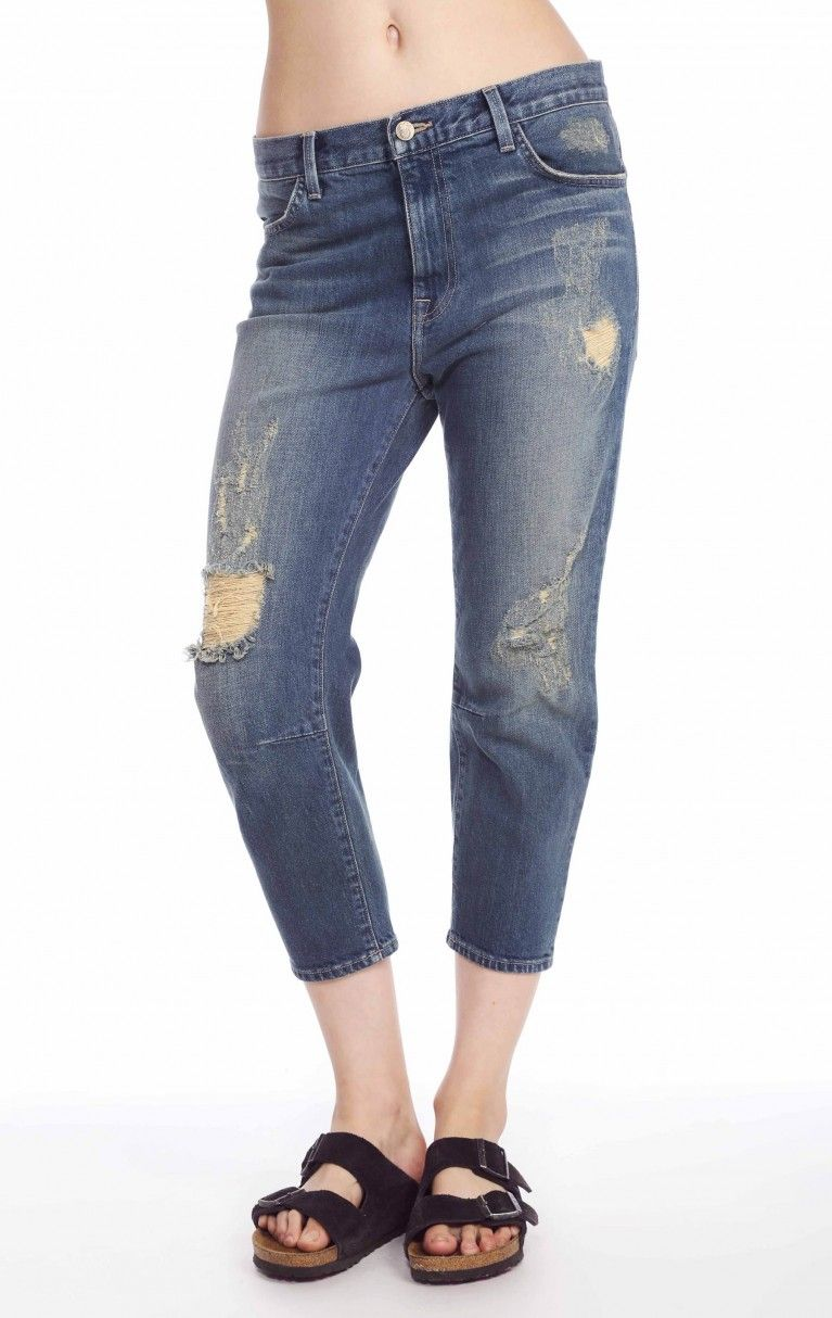 Baggy Crop Jeans in Worn Out