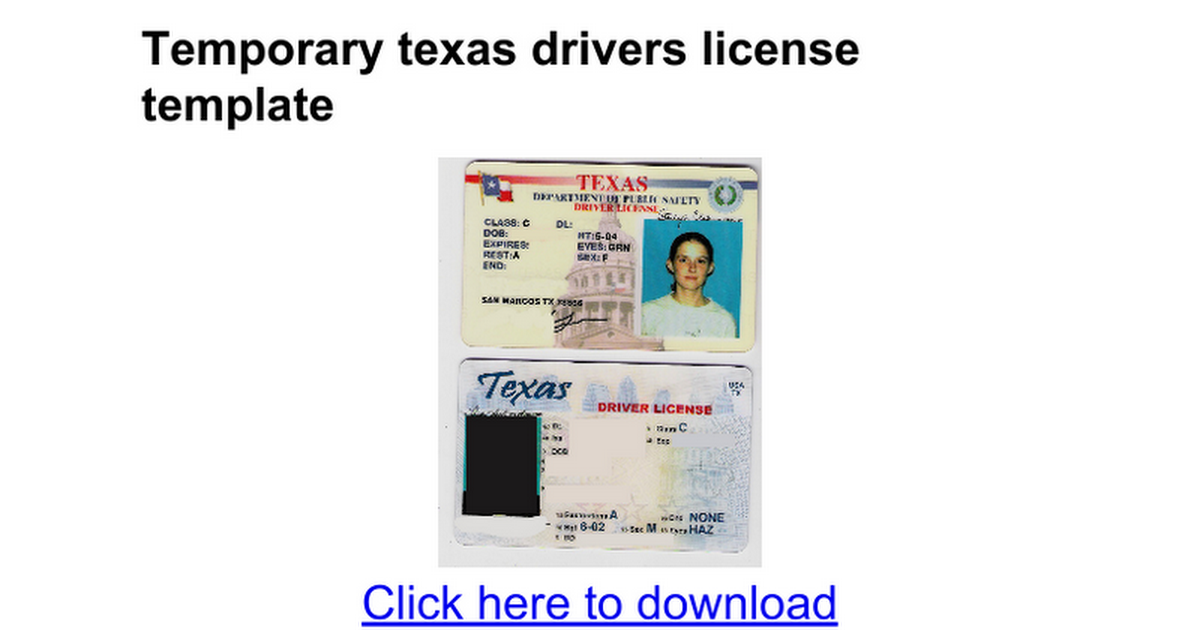 Temporary texas drivers license template Templates