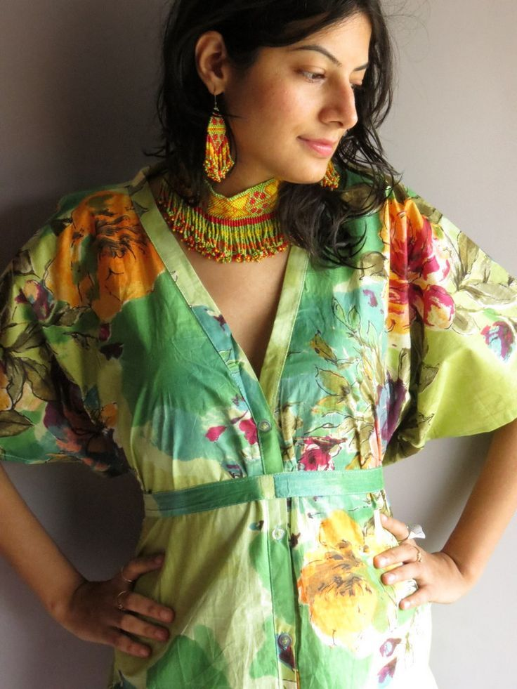 Cozy Front Buttoned Short Kaftan Style made From D3 Fabric Pattern