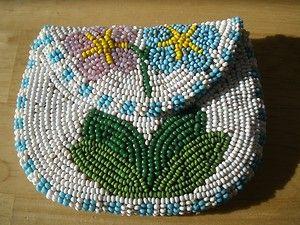 Vintage Native American Beadwork | Nicely Beaded Vintage Native American Indian Purse Pouch Neat Beadwork ...