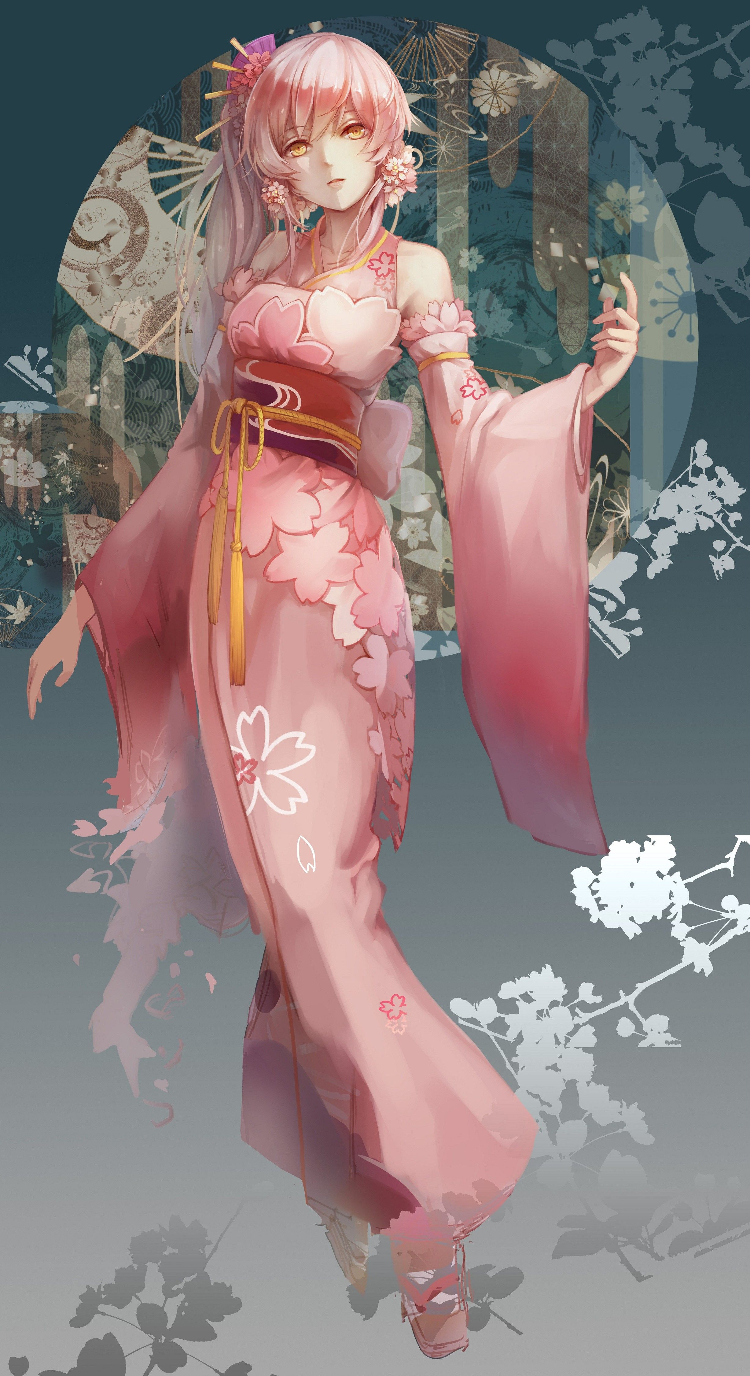 Anime 2454x4500 anime anime girls kimono Japanese clothes long hair