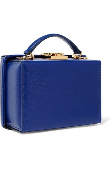 Grace Small Textured-leather Shoulder Bag - Blue Mark Cross WQyw22g6