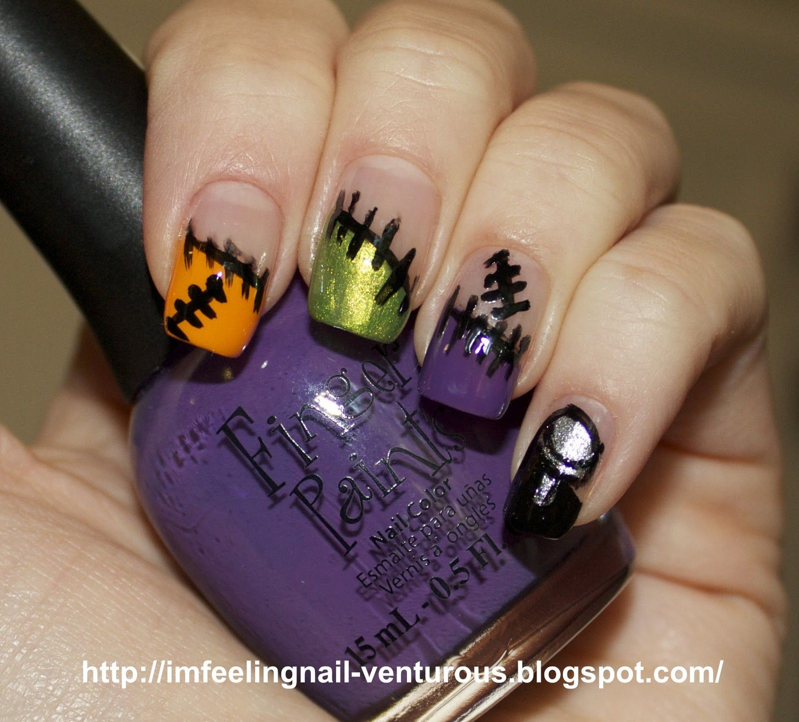 Funky frankenstein french nail design i wish i could see the nail