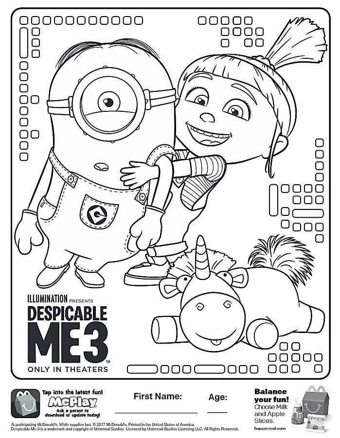 Here Is The Happy Meal Despicable Me 3 Coloring Page Click The