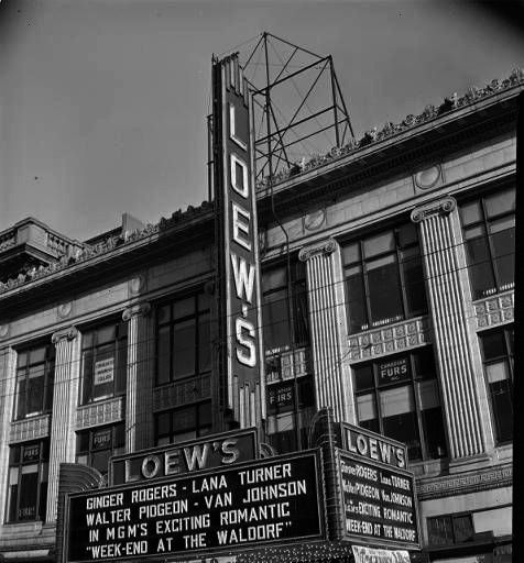 Exterior  Larry Foster Collection  Loews Theater Exterior  Larry Foster Collection   A menu from the first class service on the last luncheon of the Titanics maiden voyag...