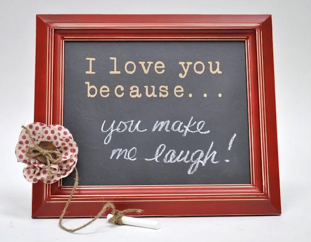 I love you because...  chalkboard vinyl