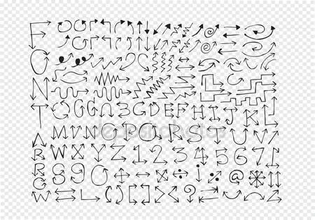 Ladda Ner - Skiss pilar alfabetet, pilen teckensnitt a till z och siffror — Stockillustration #48125829