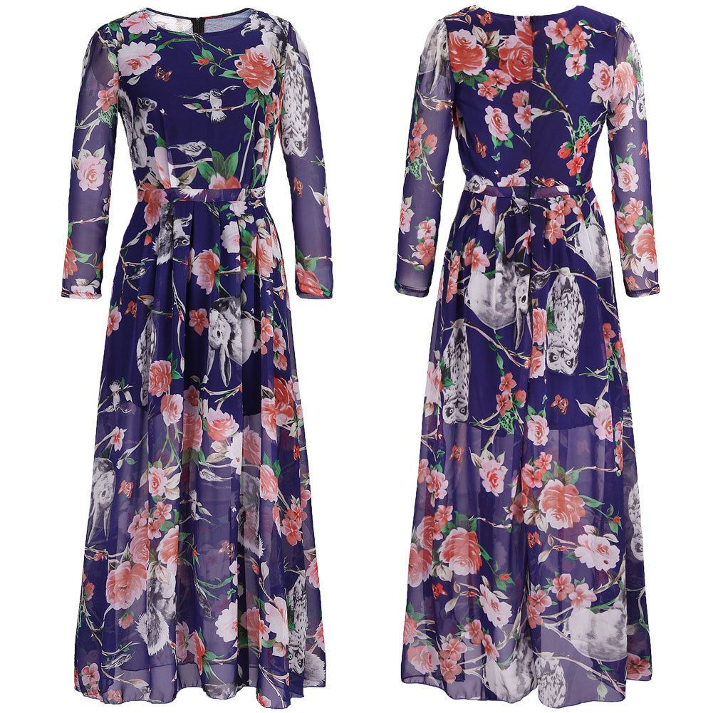 Womens Casual Floral Long Dress Boho Chiffon Evening Cocktail Party ...