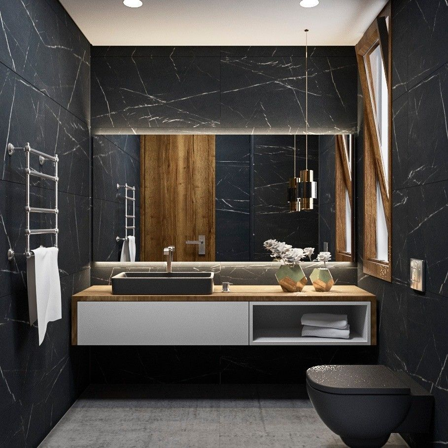 Modern Bathroom With A Nero Marquina Marble Wall
