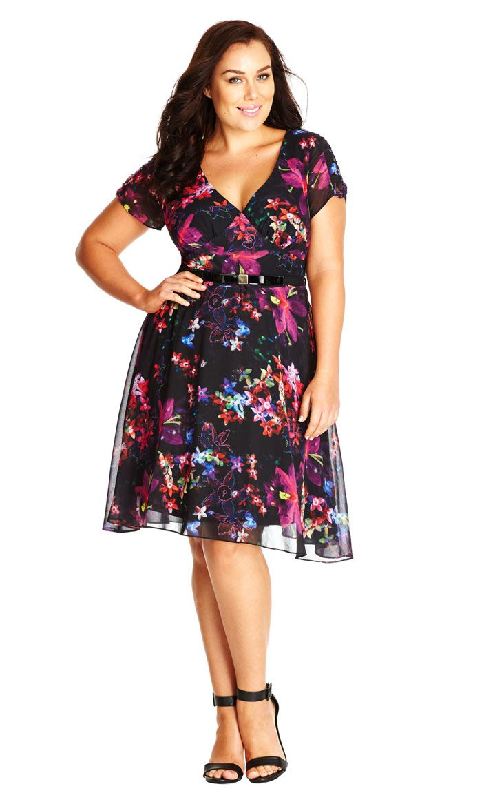 130 Orchid Floral Dress City Chic Fashion Dresses