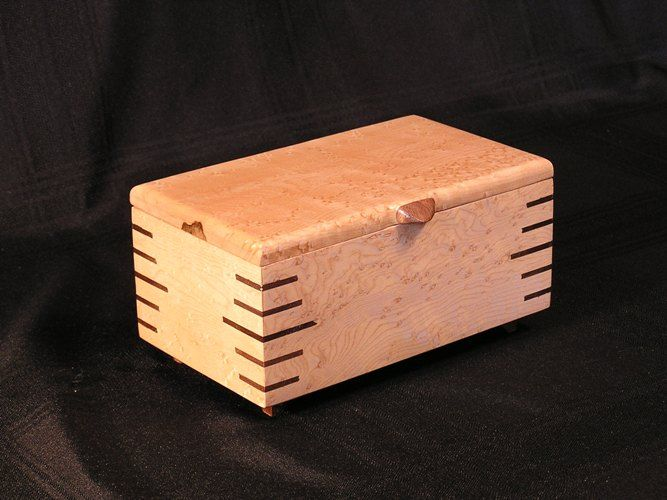 Small Jewelry Box with slip feather corners carved Handle and legs