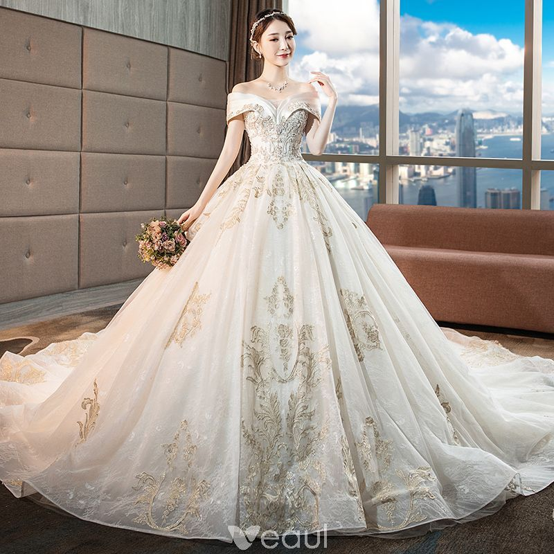 65e8037cef433 Chic / Beautiful Champagne Wedding Dresses 2018 Ball Gown Lace Flower  Beading Crystal Sequins Off-The-Shoulder Backless Sleeveless Royal Train  Wedding