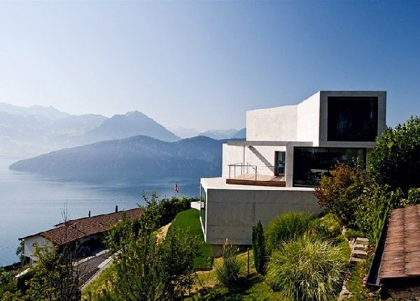 concrete house with unique views by ungertreina - Home Designs Swiss Mountain