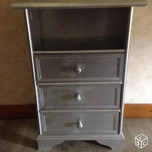 Petit meuble 3 tiroirs gris métal Ameublement Vienne - leboncoinfr