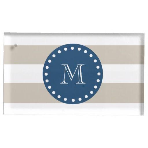 Beige White Stripes Pattern, Navy Blue Monogram Table Card Holder