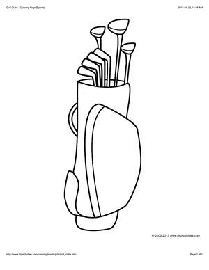 Golf Clubs Coloring Page Sports Sports Coloring Pages Golf Clubs Coloring Pages