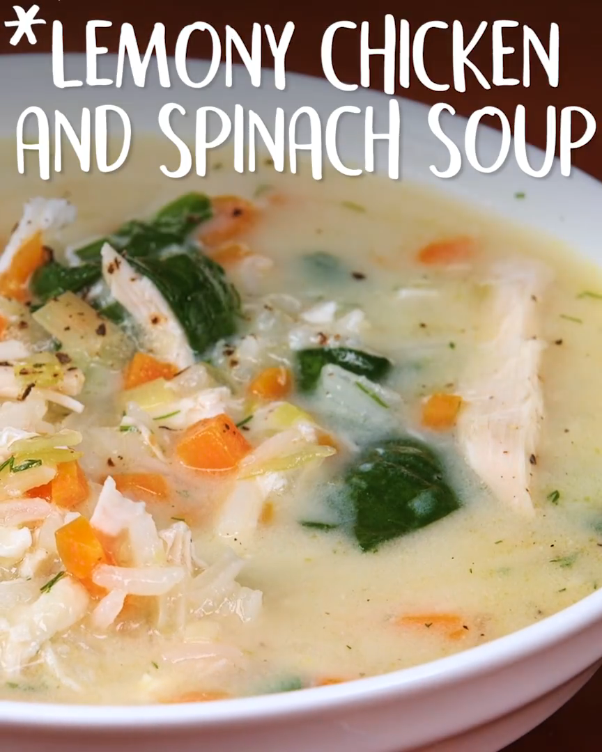 Lemony #Chicken And #Spinach #Soup  #spinachsoup
