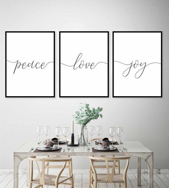 Love Joy Peace prints set,Set of 3 Prints,Wall Art Prints,3 Piece Wall Art,Home decor,Love sign,Joy sign,Living room decor,Holiday Prints,