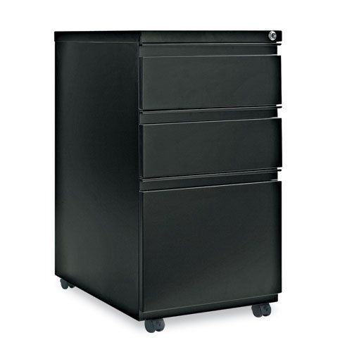 "Three-Drawer Mobile Pedestal File With Full-Length Pull, 15-7/8w x 23d, Black by Alera Products. Save 61 Off!. $198.80. Alera - Three-Drawer Mobile Ped File With Full-Length Pull, 15w x 23d, Black - Sold As 1 EachHigh-sided file drawer accommodates letter/legal filing. Counterweight prevents tipping. 4 casters, two locking. Full-length pull permits easy opening. Height without casters: 27"". Color(s): Black; Width: 15 7/8 in; Depth: 23 in; Height: 28 1/4 in.Full-length recesse..."
