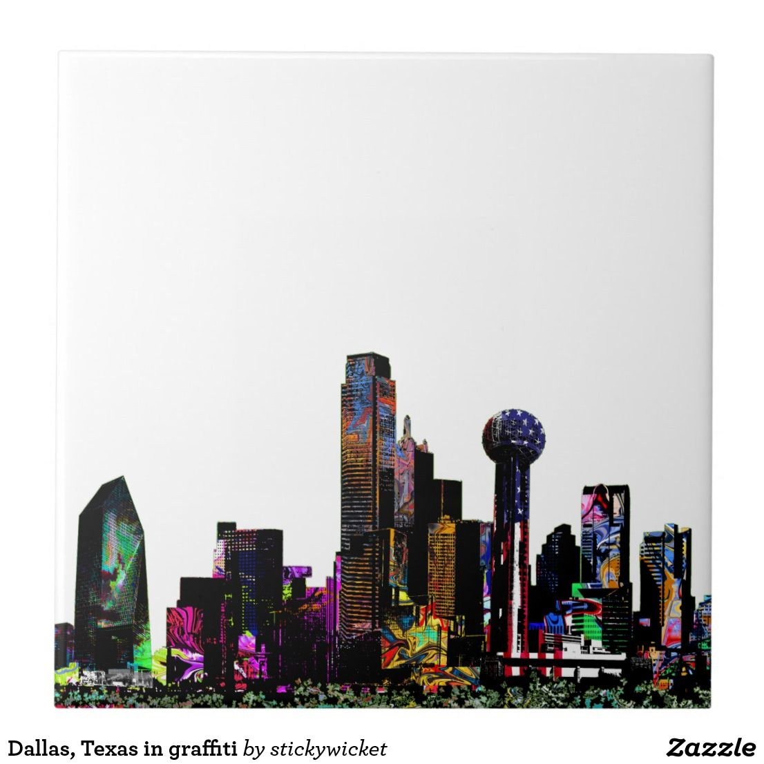 Dallas texas in graffiti tile with images