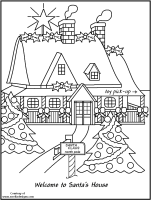 santa house santas house colouring pages