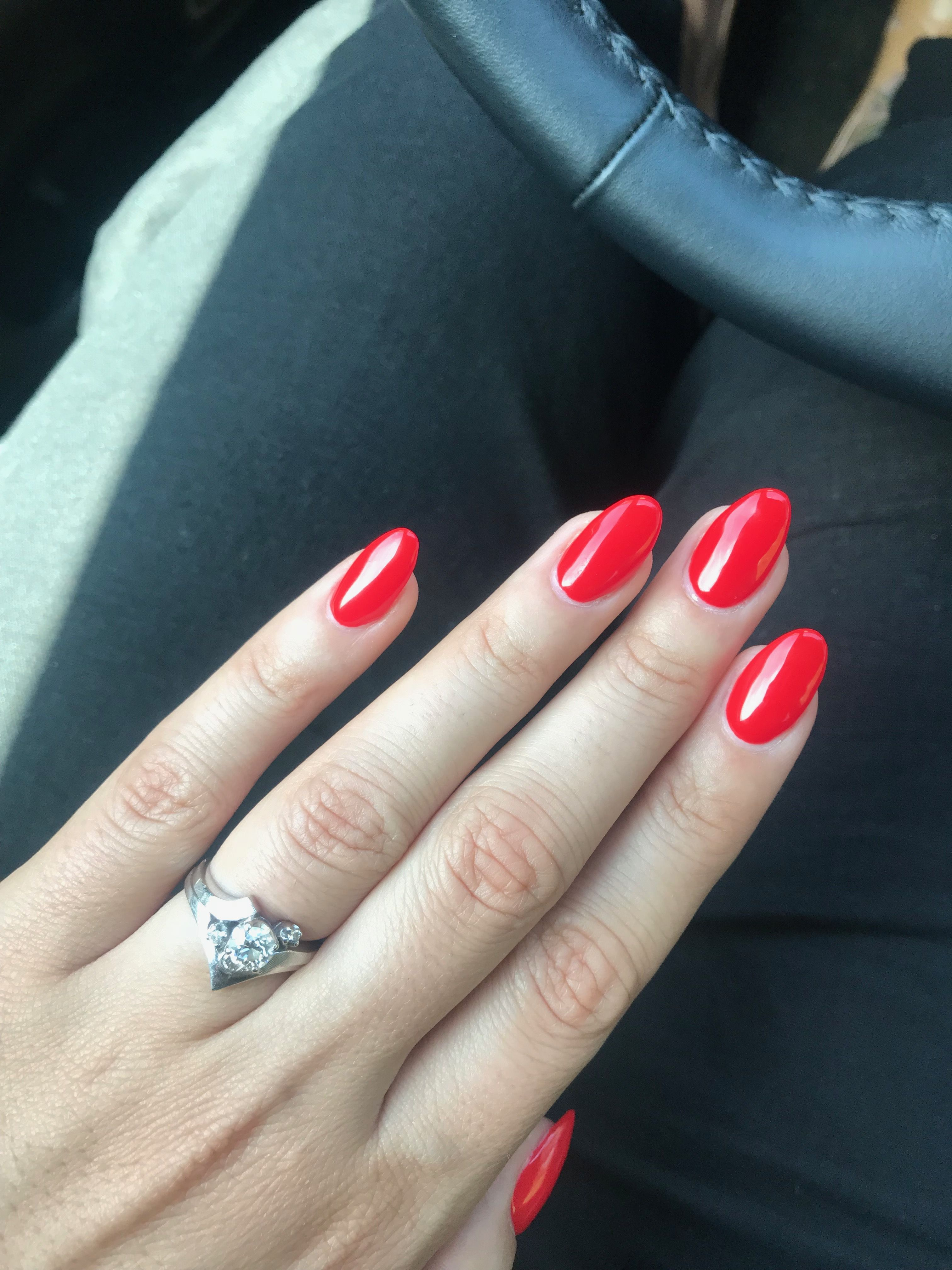 Ferrari Red Almond Round Acrylic Bright Red Short Nails Red Shellac Nails Bright Red Nails Almond Nails Red