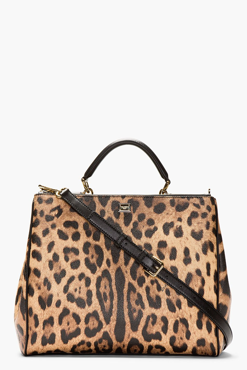 DOLCE & GABBANA Brown Leopard-Print Miss Sicily Shoulder Bag