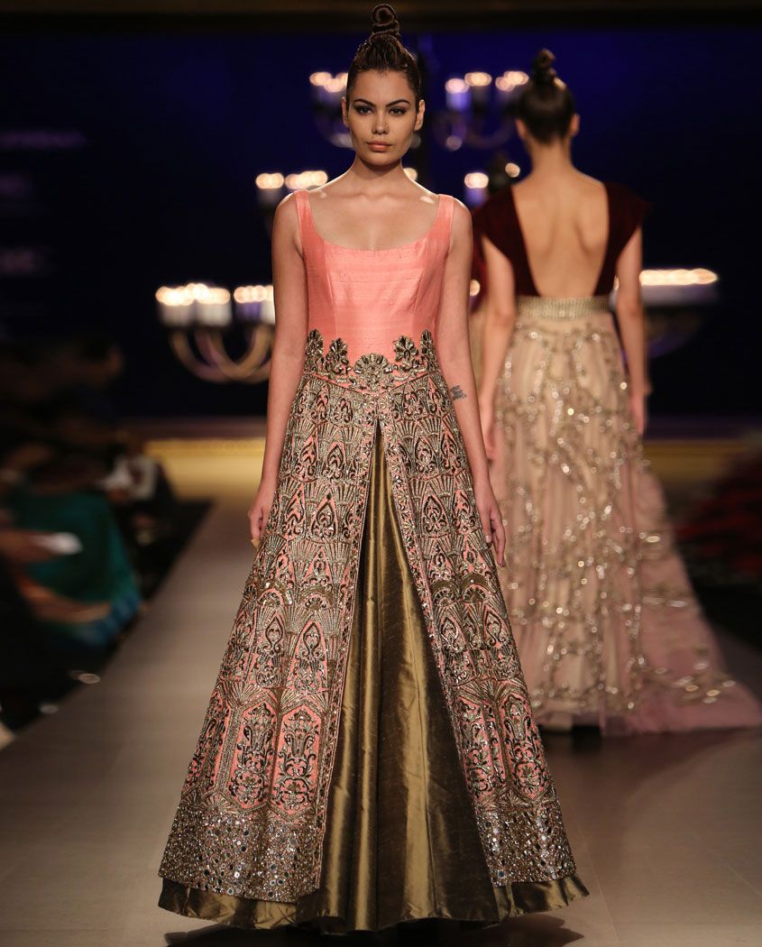 Manish malhotra bridal collection 2014 - Olive Gold Lengha Set With Embroidered Champagne Pink Jacket By Manish Malhotra India Couture Week