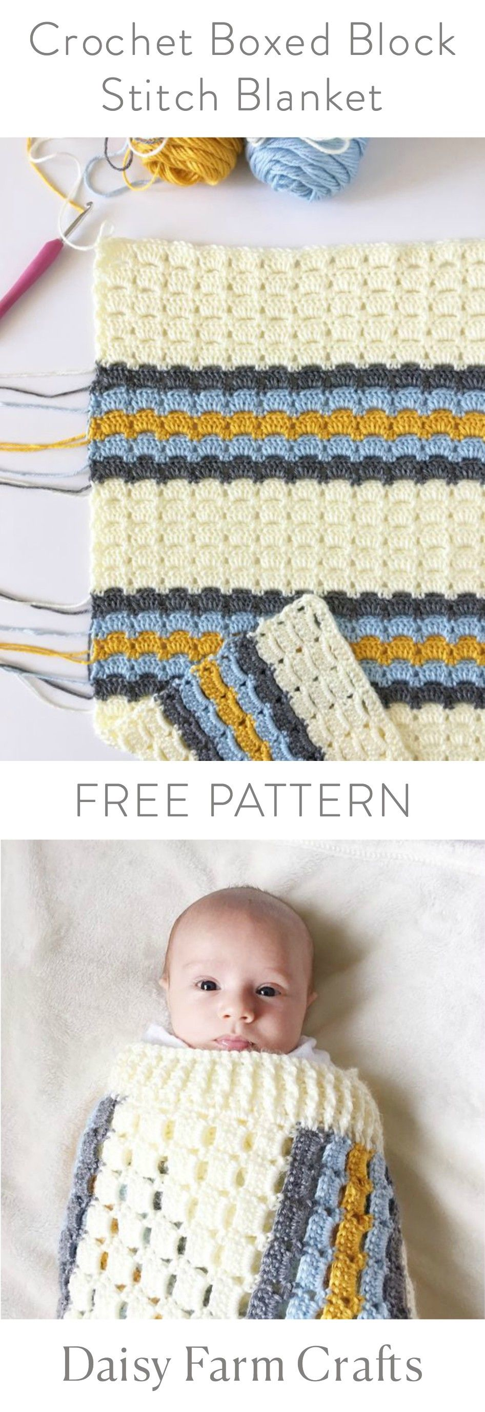 FREE PATTERN - Crochet Boxed Block Stitch Blanket | Crochet and Wool ...