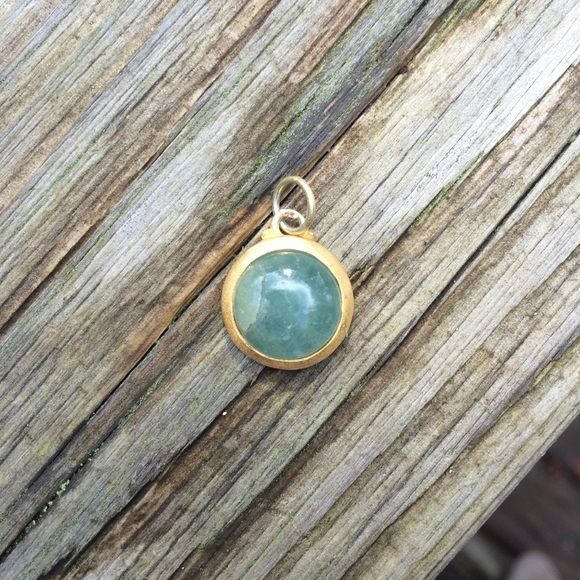 Baroni natural stone pendant 14k gold overlay Kind of hard to tell in photos, but the last photo shows there is a crack in the stone. Still beautiful and definitely wearable as long as you don't mind the flaw. Feel free to make offers! Baroni Jewelry