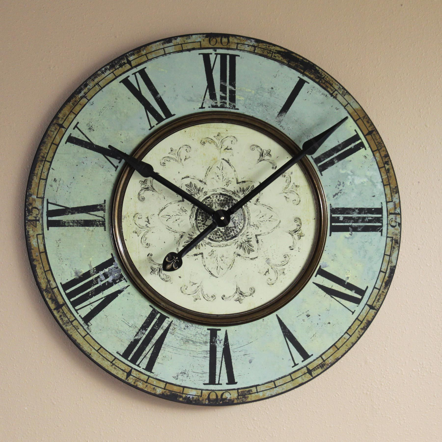Large green wall clock large french clock blue kitchen clock future home decor amipublicfo Image collections