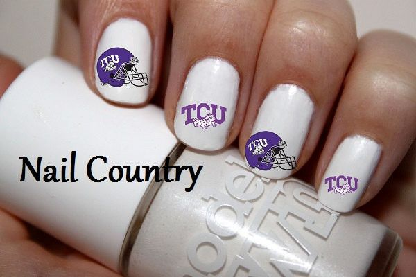 "#SALE #COUPON CODE ""PINTREST"" Takes 15% Off Your Order #NAILS 50pc TCU Horned Frogs Football Nail Decals Nail Art Nail Stickers Best Price NC283"