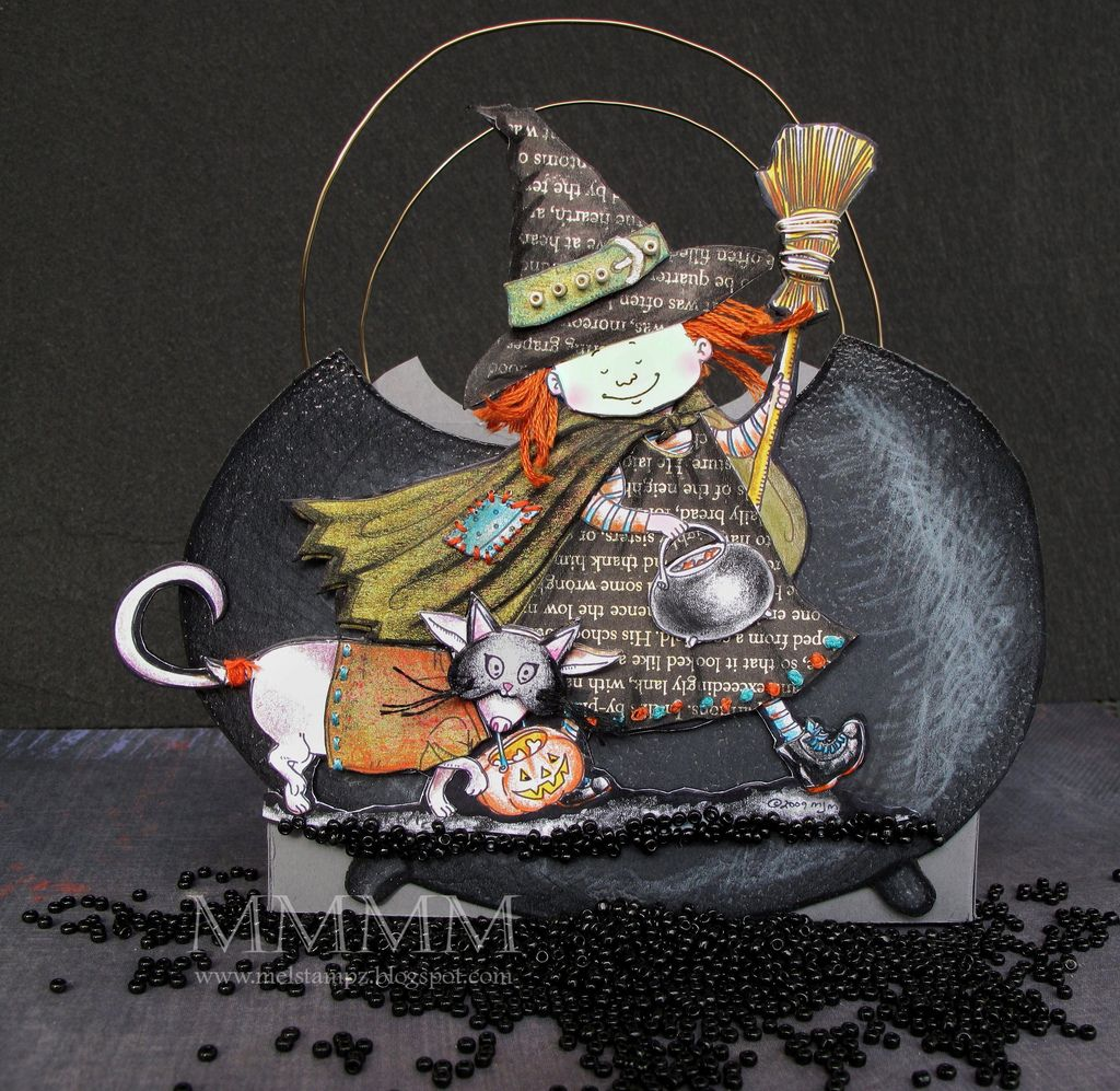 all the templates and instructions for a box with a cauldron and adorable witch images - great for Halloween treats!