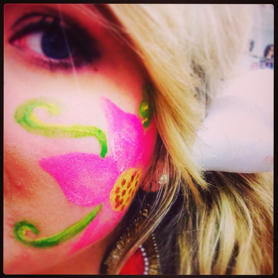 Flower face paint -- done by Courtney Haynie on me