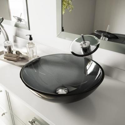 Vigo Glass Vessel Bathroom Sink In Sheer Black With Waterfall