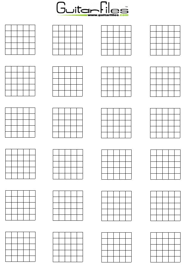photograph relating to Printable Blank Guitar Chord Chart identify Blank Guitar Chord Diagrams Guitar Information inside of 2019 Guitar