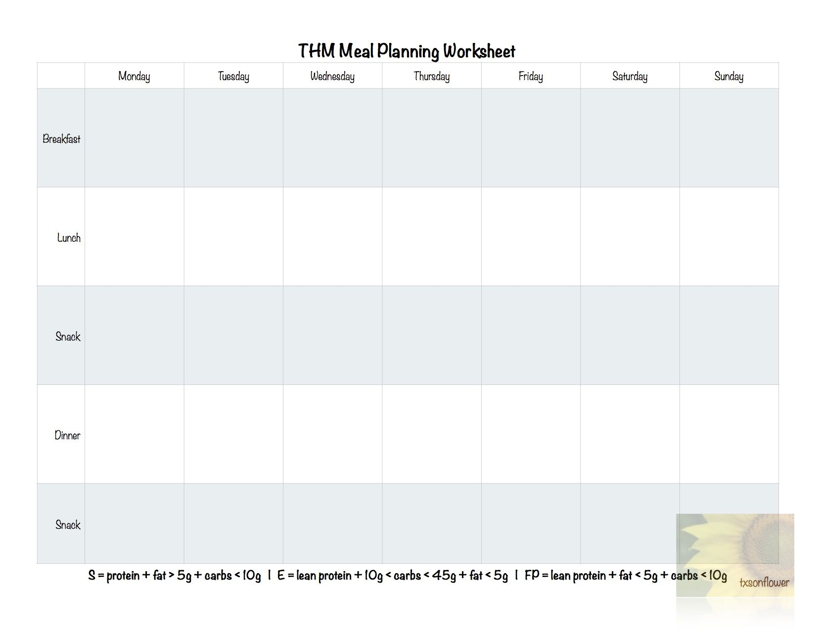 Meal Planning Worksheet With Images