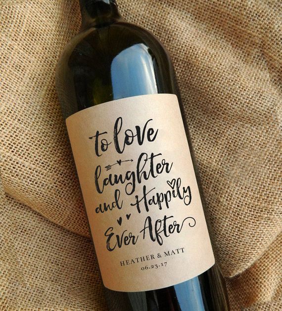 Wedding Gift Wine Labels Thank You Engagement Favors
