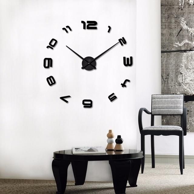 Large Diy Decals Modern Wall Clock Black Red Gray Blue