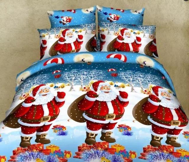 Festive Christmas Santa Sleigh Snowman Duvet Cover and Pillowcase Bedding set