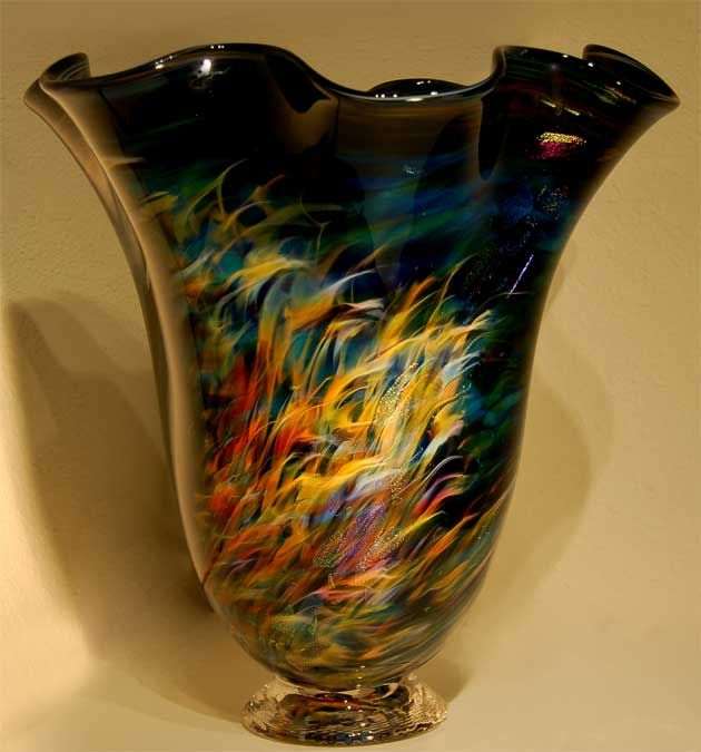 Orions Nebula Blown Glass Vase Large Bouquet Fluted Art Glass