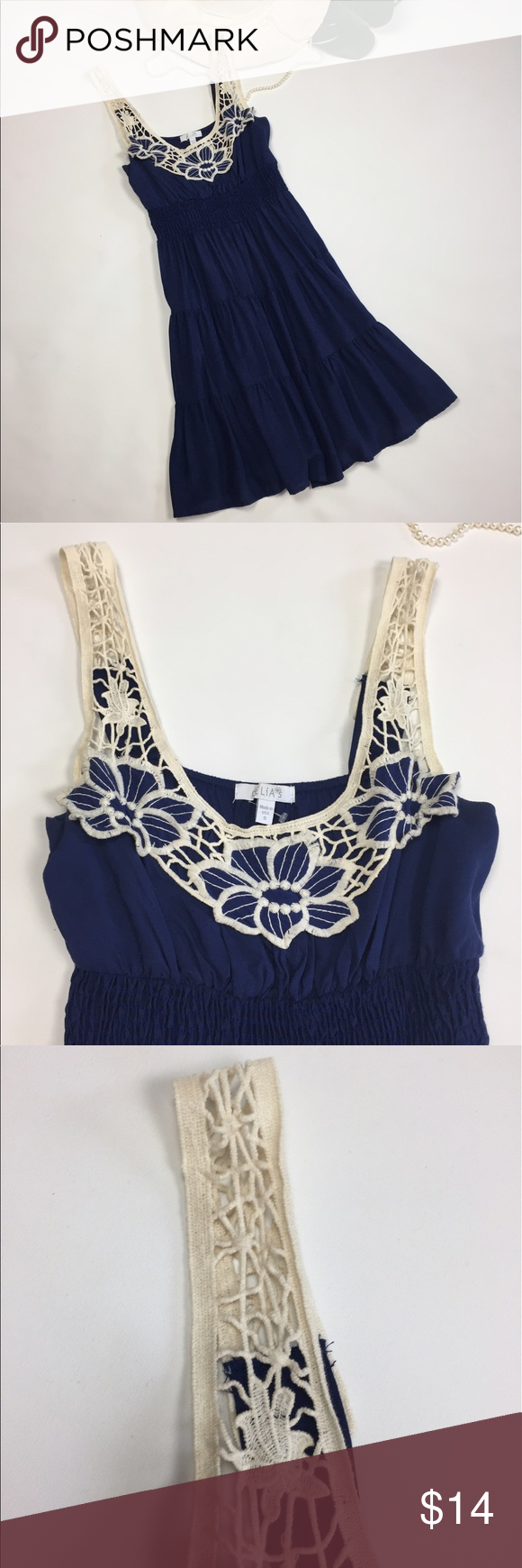 Delias's 🎁 Navy blue dress with lace straps SZ S Delias's 🎁 Navy blue dress with lace straps SZ S  summer dress boho bohemian cream lace floral accent on the front with cream canvas lacing straps pintucking A-line skirt very flattering soft material Dresses Mini