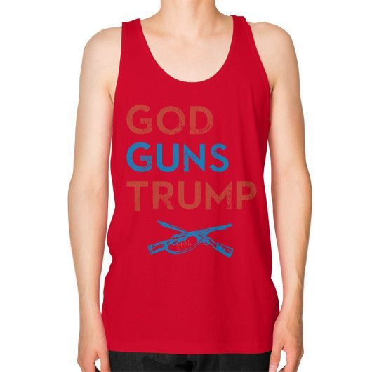 God Guns Trump - Unisex Fine Jersey Tank (on man)