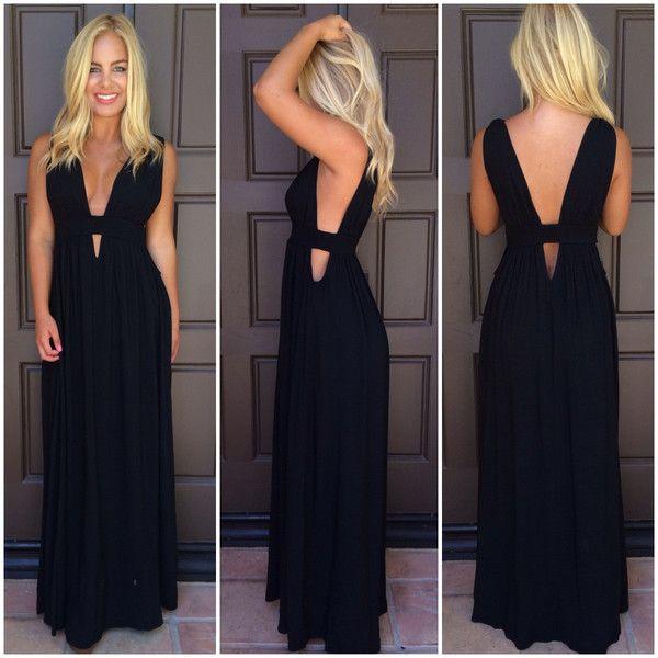 Kenya Cutout Maxi Dress Black 42 50 Cutout Maxi Dress Plunge Maxi Dress Dresses