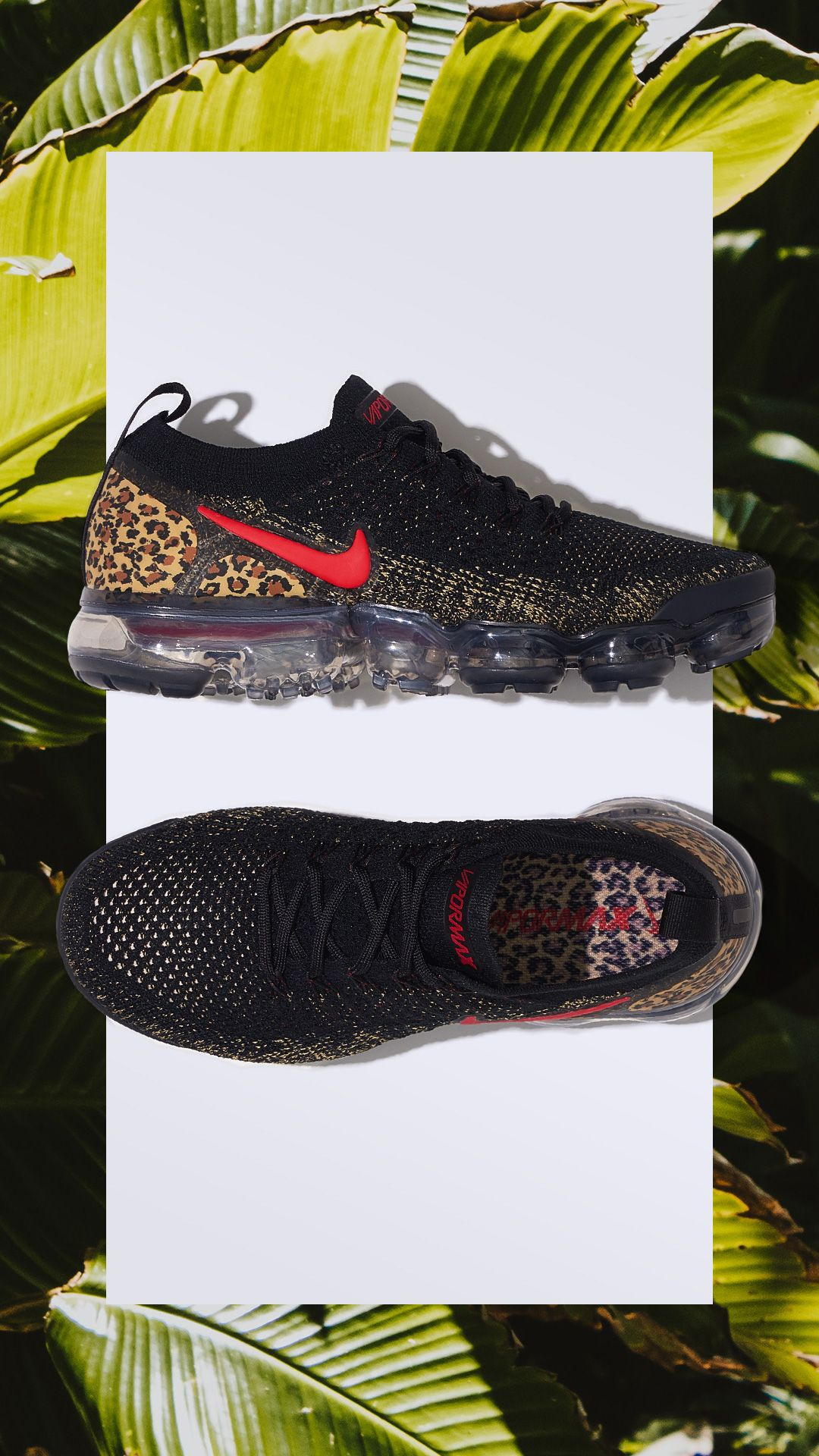 586f612c3c8d3 Featuring a Nike Air VaporMax with animal print on the heel.