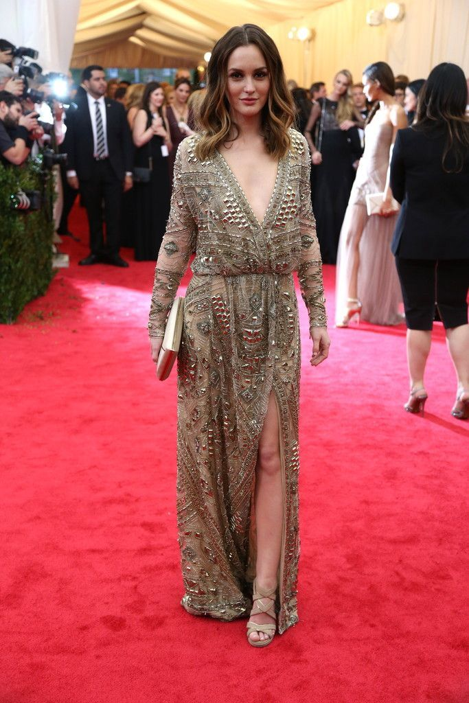 MET Gala 2014 | Leighton Meester in Emilio Pucci with David Yurman jewels, a Smythson clutch, and Jimmy Choo shoes.