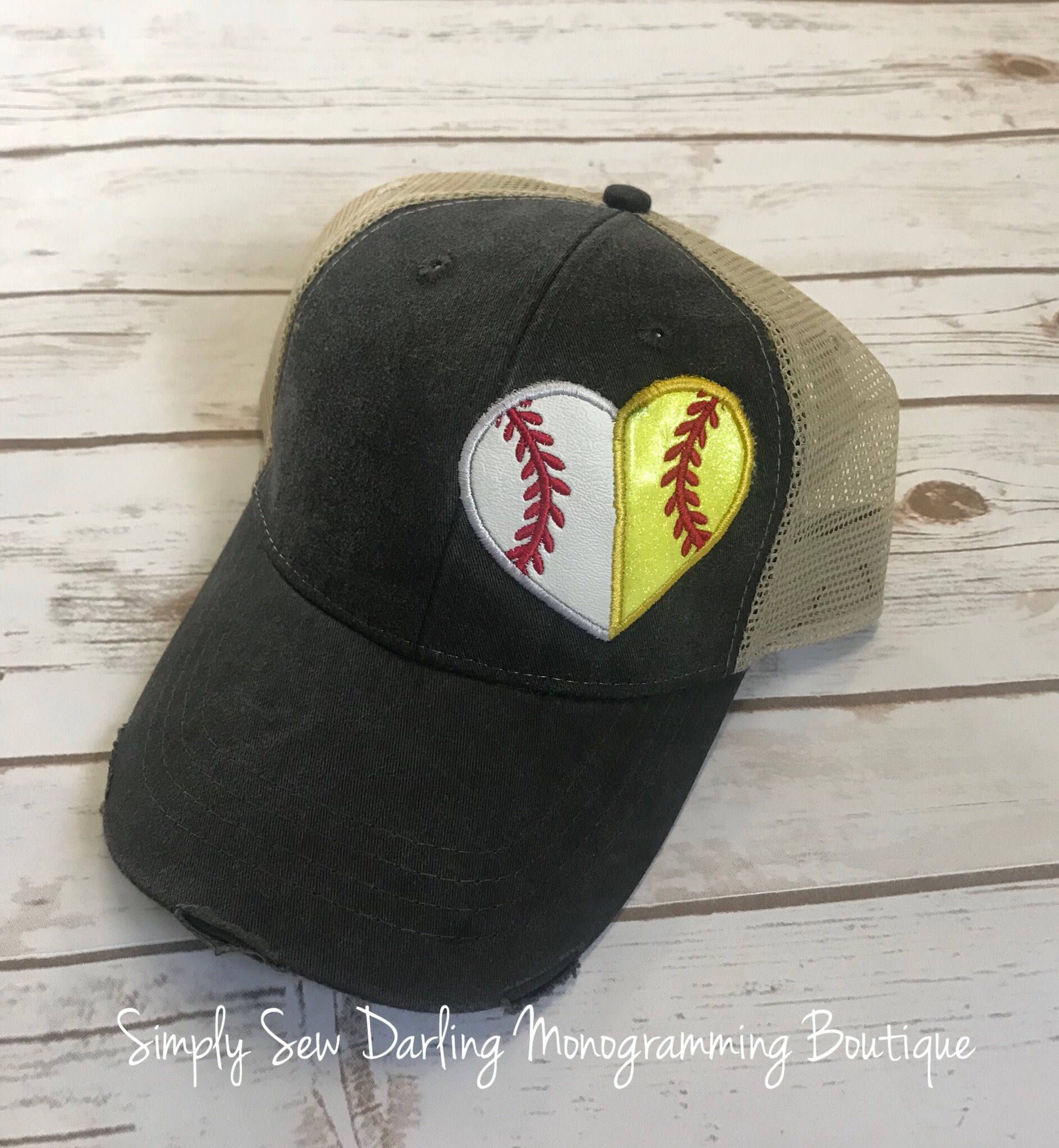 73c22bf8a95 Split Baseball Softball Heart Applique  Embroidered Distressed Trucker Hat  several Hat Colors